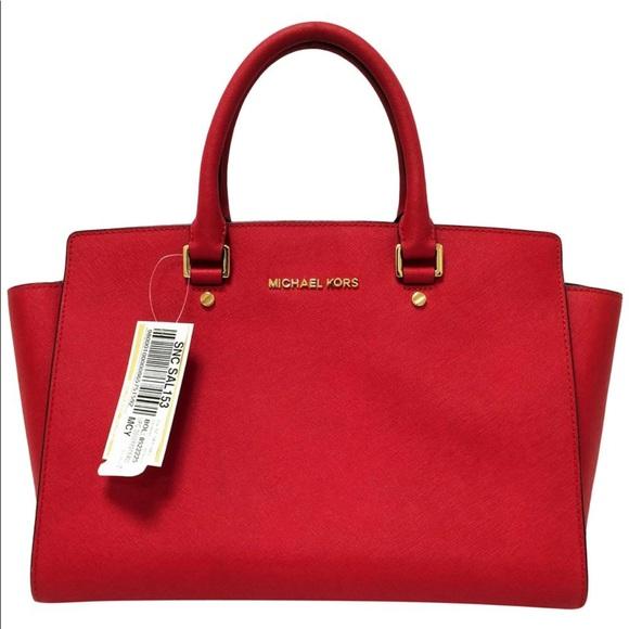 52351acf3e14af MICHAEL Michael Kors Bags   Michael Kors Selma Large Red Leather ...